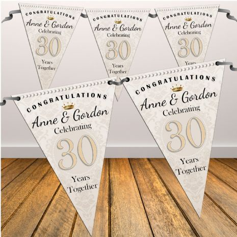 Personalised Pearl 30th Wedding Anniversary Celebration Flag Bunting Banner - N44